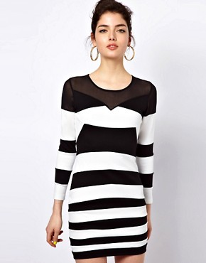 Image 1 ofMotel Roxanne Bandage Dress In Monochrome and Mesh