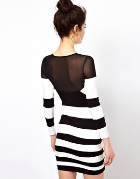 Image 2 ofMotel Roxanne Bandage Dress In Monochrome and Mesh