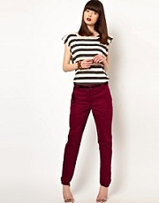 Eleven Paris Flat Front Chino with Tassle Belt Detail and Contrast Turn Back