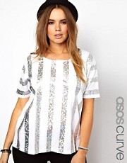 ASOS CURVE - Top scampanato a righe olografiche