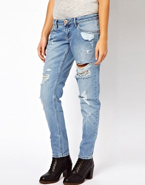 Image 1 ofRiver Island Boyfriend Jean with Rips