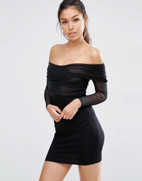 ASOS Off The Shoulder Mesh Wrap Front Mini Bodycon Dress