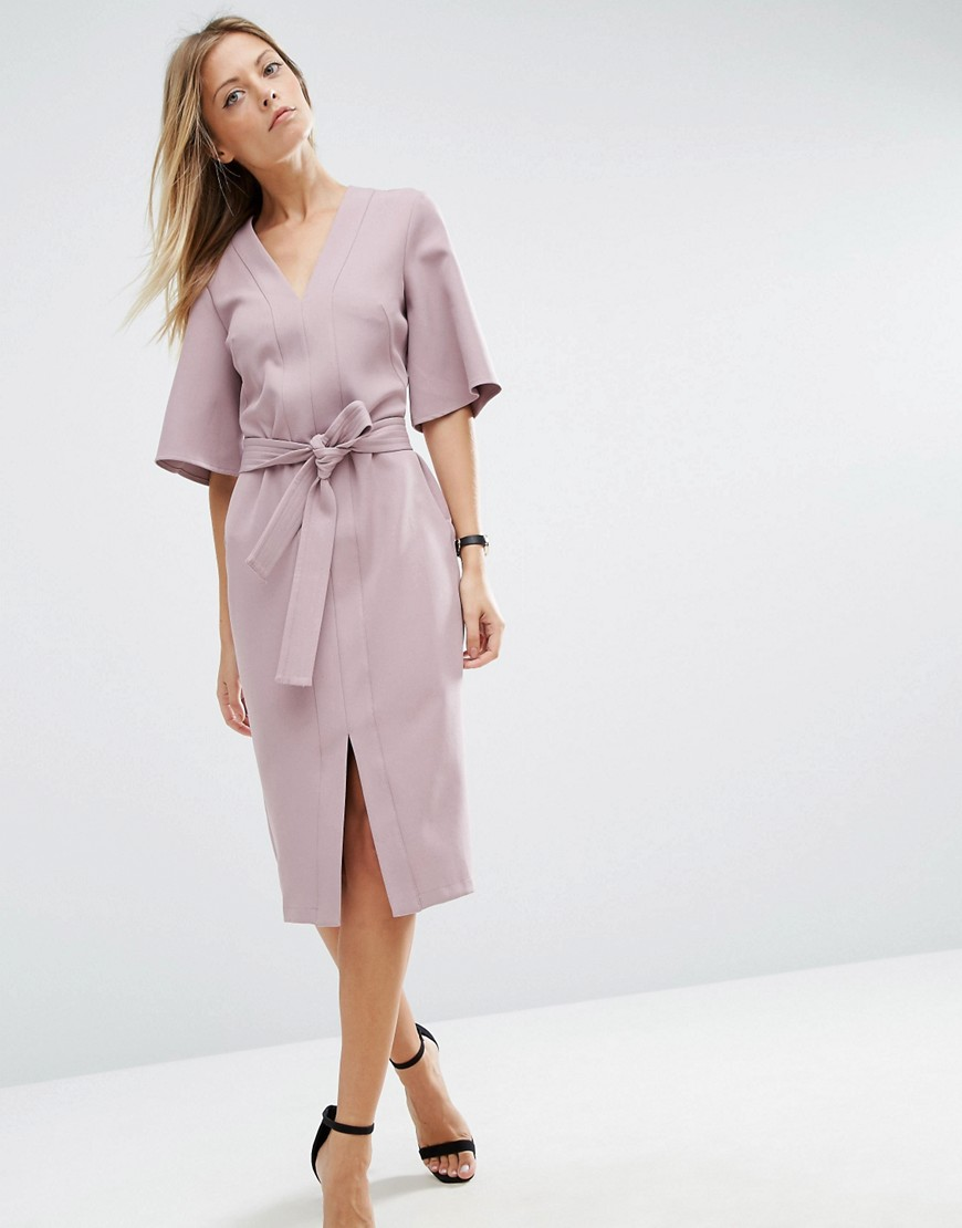 ASOS Clean Obi Wrap Dress with V Front - Purple