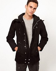 Iro Parka Style Jacket with Faux Fur Hood