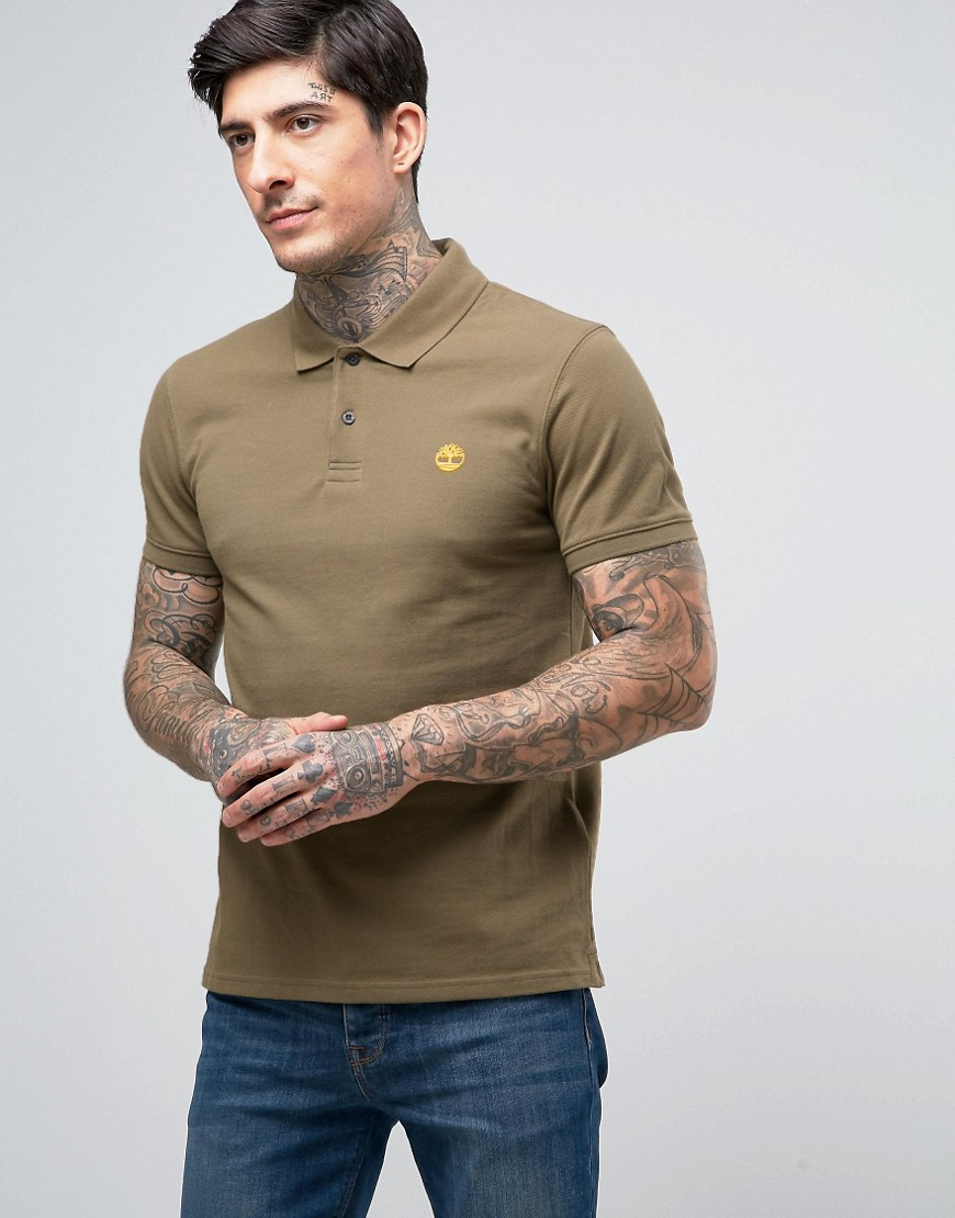 Timberland Slim Pique Polo Small Logo in Green - Зеленый