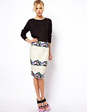 ASOS Pencil Skirt in Lace with Floral Applique
