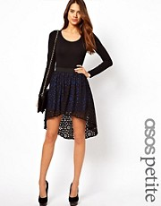 ASOS PETITE Exclusive Lasercut Skirt with Hi Lo Hem