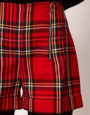 Image 3 ofASOS Tartan Double Zip Shorts
