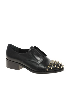 Image 1 ofASOS MITCHELL Leather Flat Shoes with Spike Detail