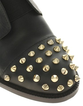 Image 2 ofASOS MITCHELL Leather Flat Shoes with Spike Detail