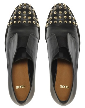 Image 3 ofASOS MITCHELL Leather Flat Shoes with Spike Detail