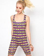Kuccia Aztec Print Cropped Playsuit