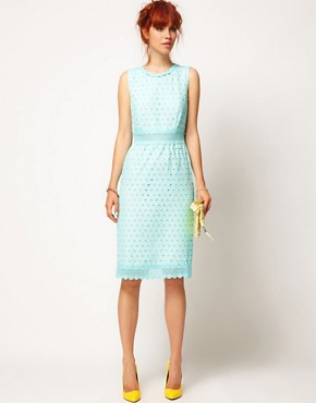 Image 1 ofASOS SALON Pencil Dress with Anglaise
