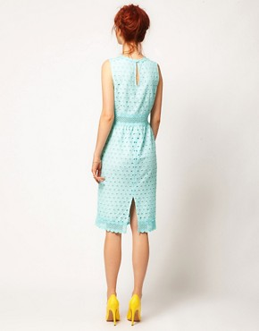 Image 2 ofASOS SALON Pencil Dress with Anglaise