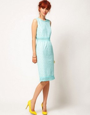 Image 4 ofASOS SALON Pencil Dress with Anglaise