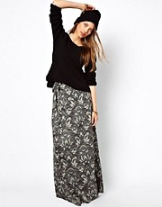 Ganni 70s Wrap Skirt in Tapestry Print
