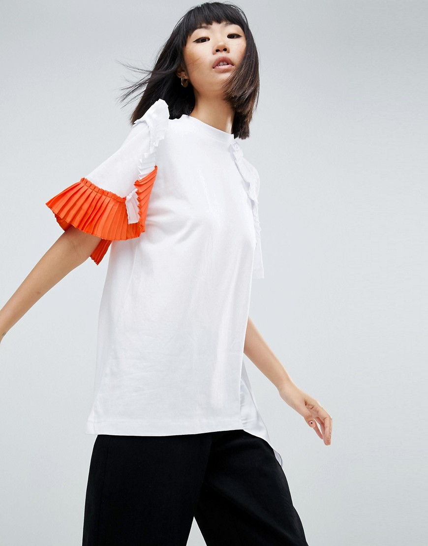 ASOS WHITE Asymmetric Pleated T-Shirt - Multi