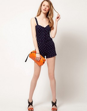 Image 4 ofAWear Printed Denim Playsuit