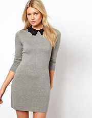 ASOS Knit Dress With Lace Collar