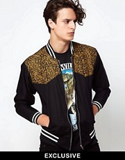 Reclaimed Vintage Bomber Jacket with Leopard Print Panel