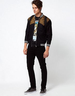 Image 4 ofReclaimed Vintage Bomber Jacket with Leopard Print Panel