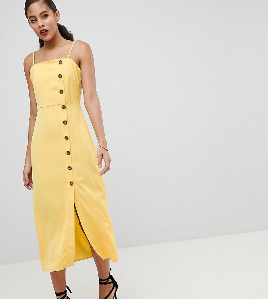 Vestido veraniego de tirantes con parte delantera abotonada de Fashion Union Tall