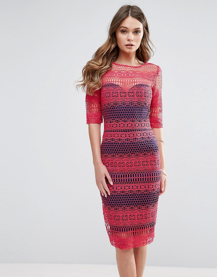 Paperdolls Lace Midi Dress - Red