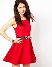Reverse Skater Dress With &#39;Bonjour&#39; Belt
