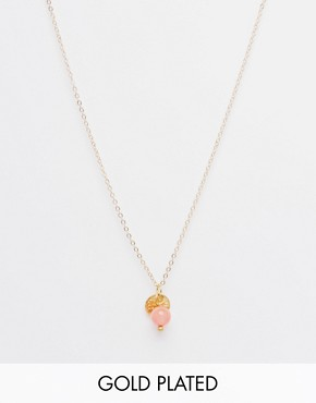 Mirabelle Coral Pendant On 45cm Gold Plated Chain