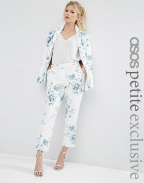 ASOS PETITE SALON Cigarette Trousers in Blue Floral Print