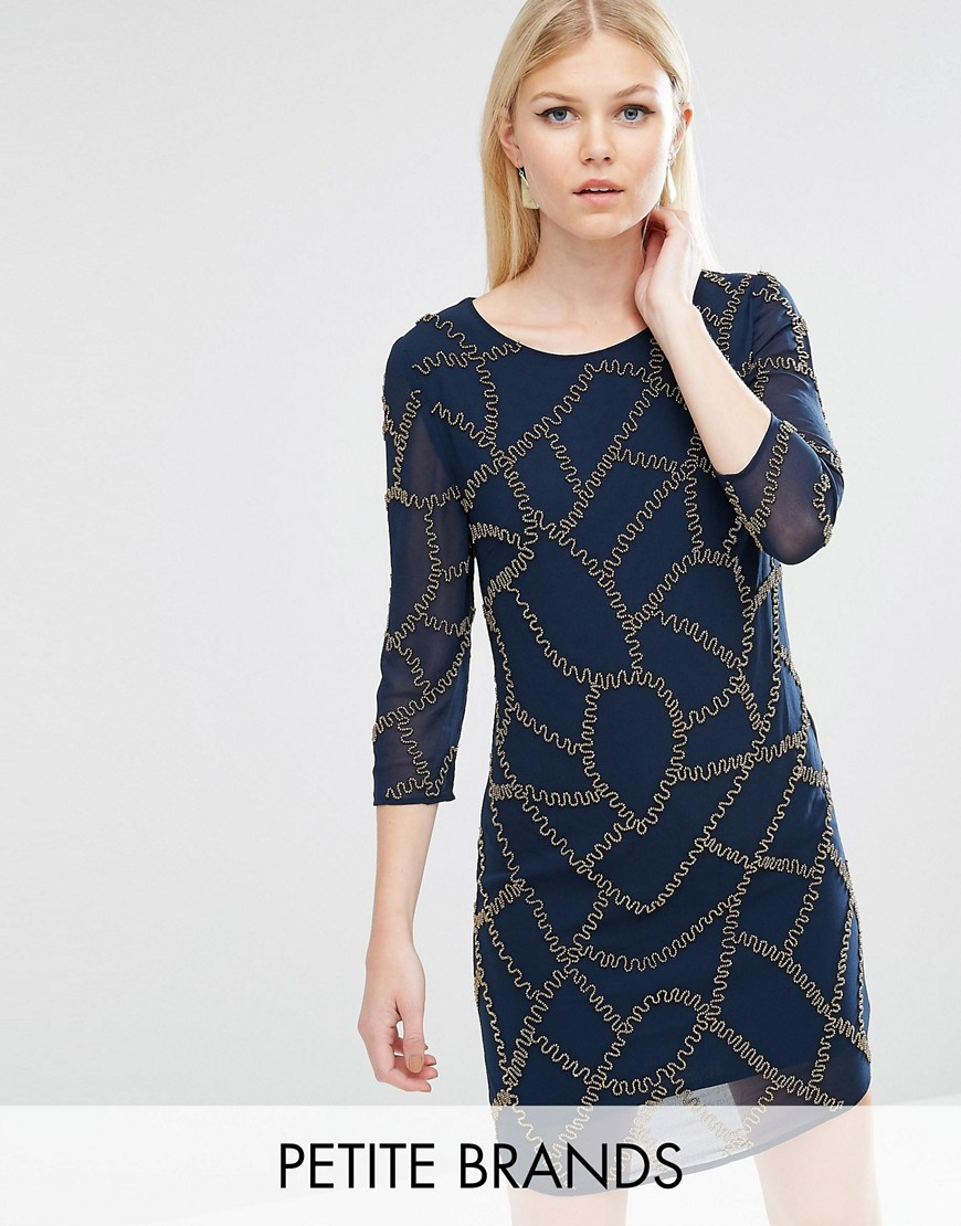 Maya Petite Embellished Shift Dress - Navy
