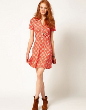 Image 4 ofAime by People Tree Organic Jersey Floral Shirt Dress
