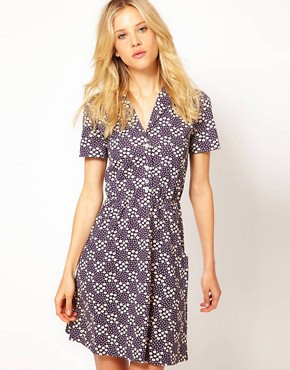 Image 1 ofAime by People Tree Organic Jersey Floral Shirt Dress