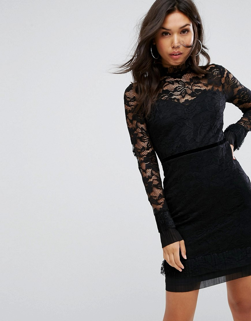 Lipsy Lace Long Sleeve Mini - Black