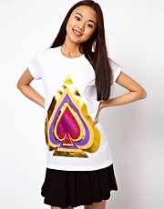ASOS T-Shirt with Foil and Glitter Spade