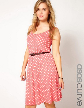 Image 1 ofASOS CURVE Exclusive Dress In Spot Print