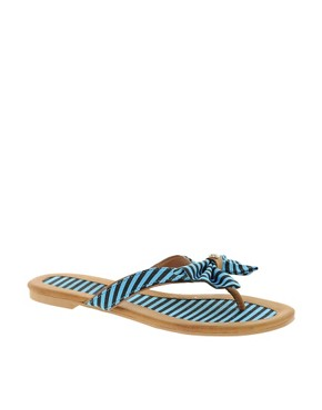 Image 1 ofTimeless Khan Stripe Bow Flip-Flop