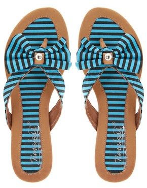 Image 3 ofTimeless Khan Stripe Bow Flip-Flop