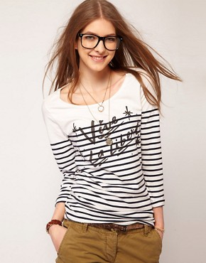Image 1 ofMaison Scotch &#39;Vive La Liberte&#39; Tee with Long Sleeves