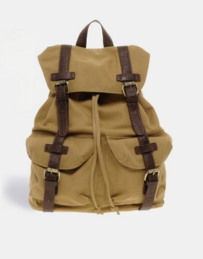 Image 2 ofASOS Canvas Backpack With Contrast Straps.