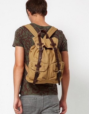 Image 4 ofASOS Canvas Backpack With Contrast Straps.