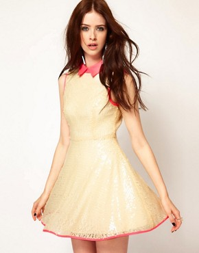 Image 1 ofLashes Of London Sequin Skater Dress with Neon Collar