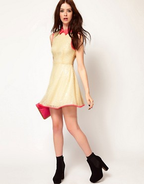 Image 4 ofLashes Of London Sequin Skater Dress with Neon Collar