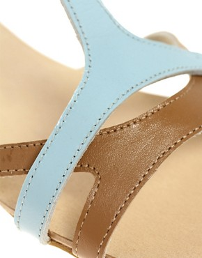 Image 2 of ASOS FABIO Leather Flat Sandals with Color Block