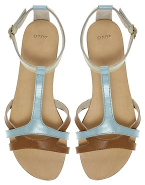 Image 3 of ASOS FABIO Leather Flat Sandals with Color Block