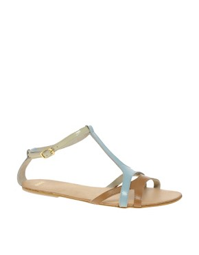 Image 1 of ASOS FABIO Leather Flat Sandals with Color Block
