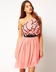 Lipsy One Shoulder Frill Front Dress
