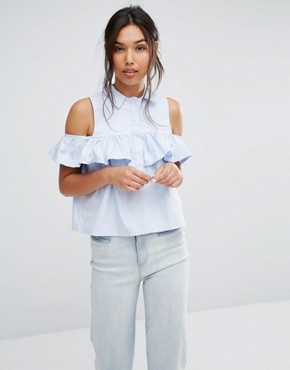 Boohoo Frill Cold Shoulder Shirt
