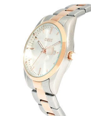 Image 4 ofOasis Two Tone Vintage Style Link Watch