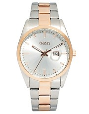 Oasis Two Tone Vintage Style Link Watch
